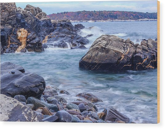 Coast Of Maine In Autumn Wood Print