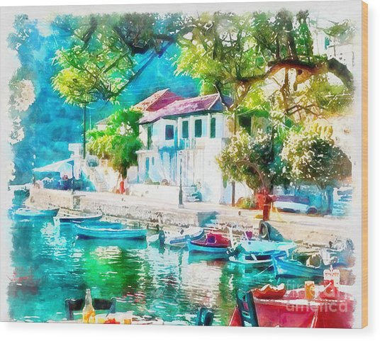 Coastal Cafe Greece Wood Print
