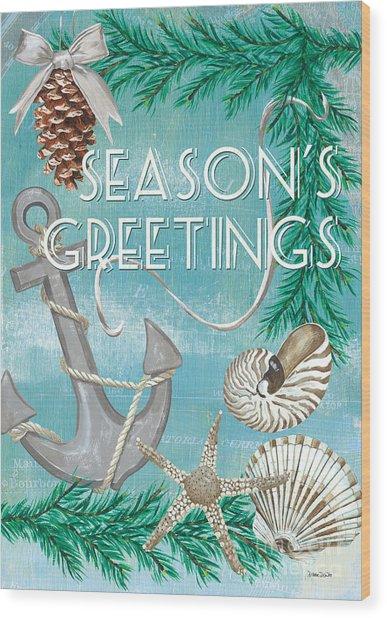 Coastal Christmas Card Wood Print