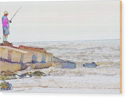Coastal Fishing Wood Print