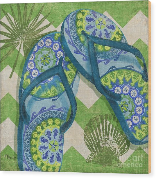 Coastal Flip Flops I Wood Print by Paul Brent