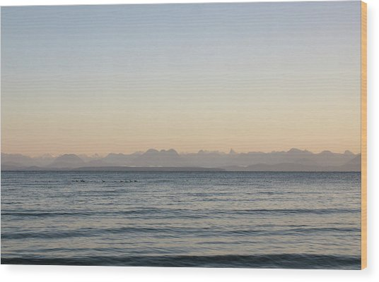 Coastal Mountains At Sunrise Wood Print