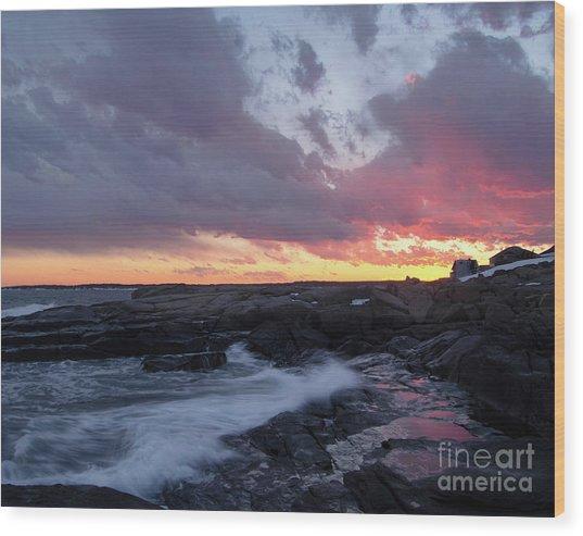 Coastal Sunset Cape Neddick - York Maine  -21056 Wood Print