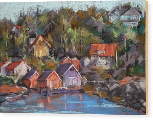 Coastal Village Wood Print