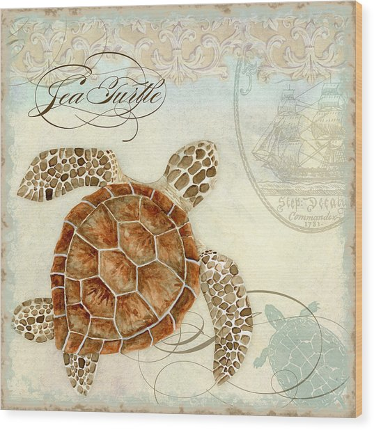Coastal Waterways - Green Sea Turtle 2 Wood Print