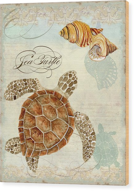 Coastal Waterways - Green Sea Turtle Rectangle 2 Wood Print