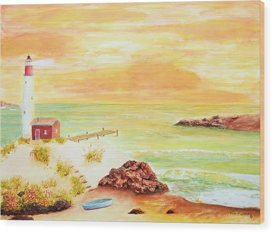 Coastline Lighthouse Wood Print