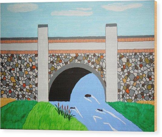 Cobblestone Bridge Wood Print by Donald Herrick