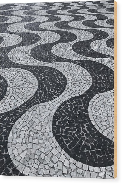Cobblestone Waves Wood Print