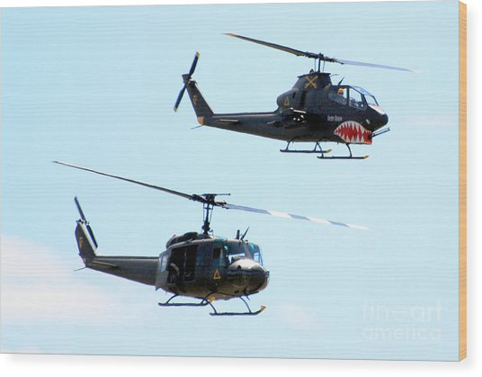 Cobra And Huey Wood Print by Larry Keahey
