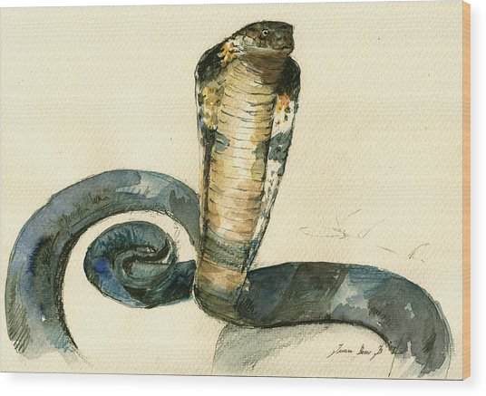 Cobra Snake Watercolor Painting Art Wall Wood Print