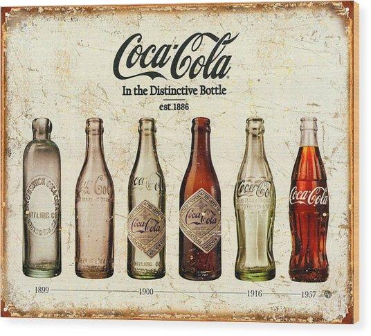Coca-cola Bottle Evolution Vintage Sign Wood Print