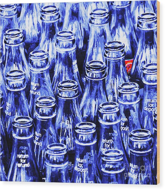 Coca-cola Coke Bottles - Return For Refund - Square - Painterly - Blue Wood Print