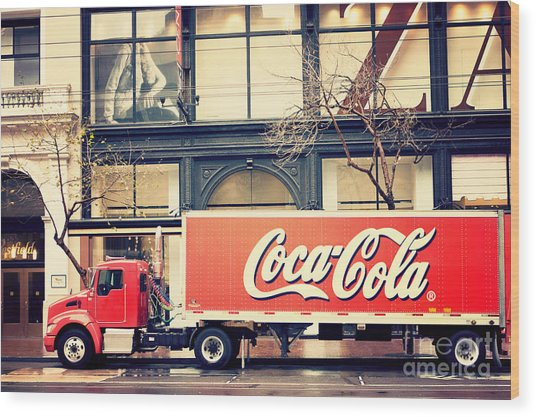 Coca-cola Truck In San Francisco Wood Print