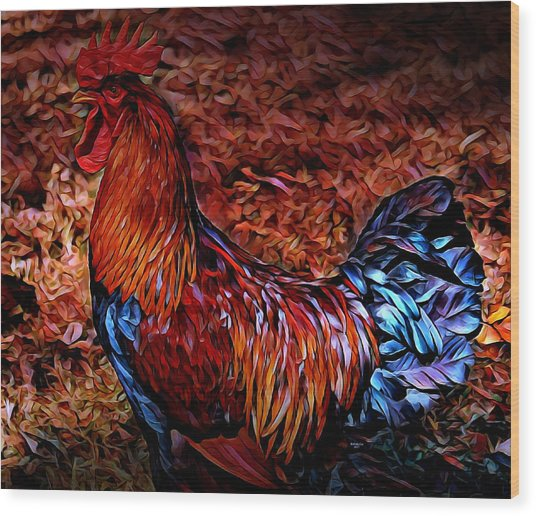 Cock Rooster Wood Print