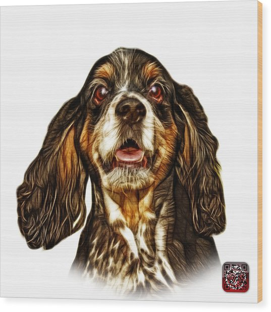 Cocker Spaniel Pop Art - 8249 - Wb Wood Print