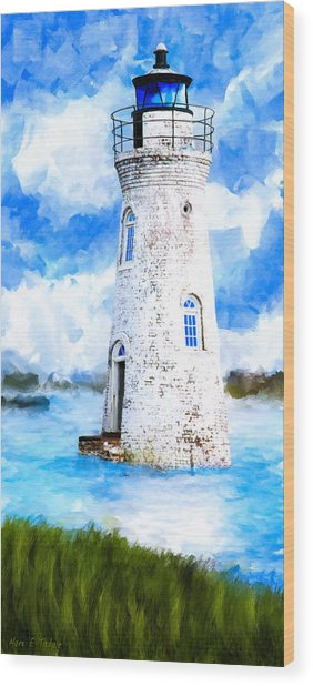 Wood Print featuring the mixed media Cockspur Island Light - Georgia Coast by Mark Tisdale