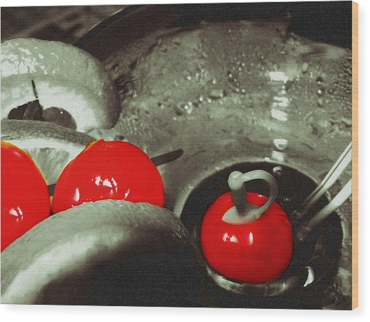 Cocktail Cherries Wood Print
