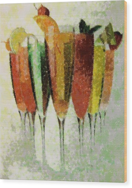 Cocktail Impression Wood Print by Florene Welebny