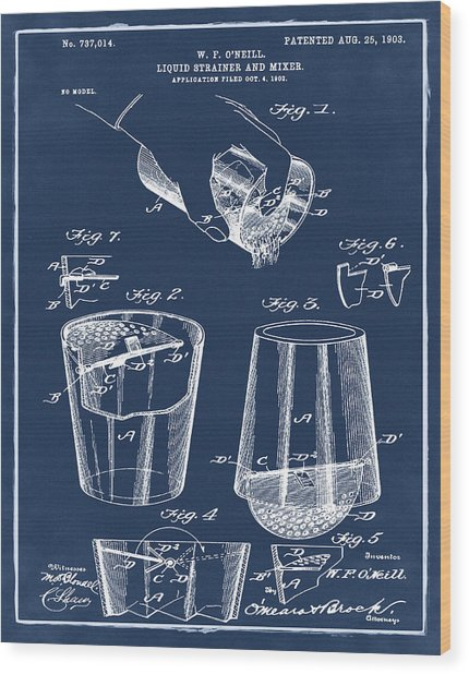 Cocktail Mixer Patent 1903 In Blue Wood Print