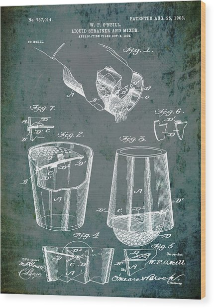 Cocktail Mixer Patent 1903 In Dirty Glass Wood Print