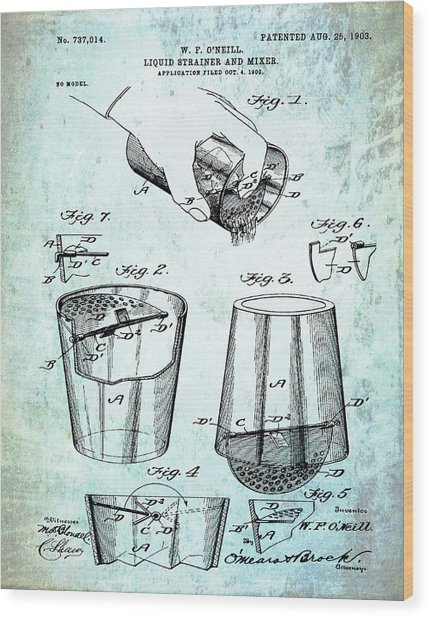 Cocktail Mixer Patent 1903 In Dirty Paper Wood Print