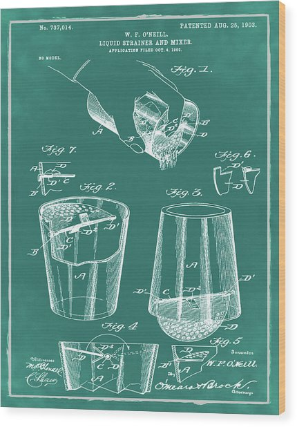 Cocktail Mixer Patent 1903 In Green Wood Print