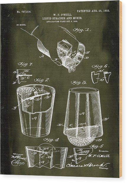Cocktail Mixer Patent 1903 In Marble Wood Print