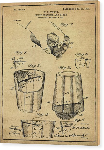Cocktail Mixer Patent 1903 In Sepia Wood Print