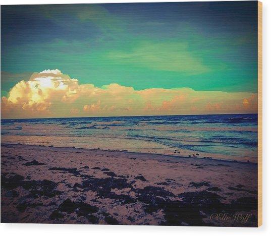 Cocoa Beach At Dusk Wood Print