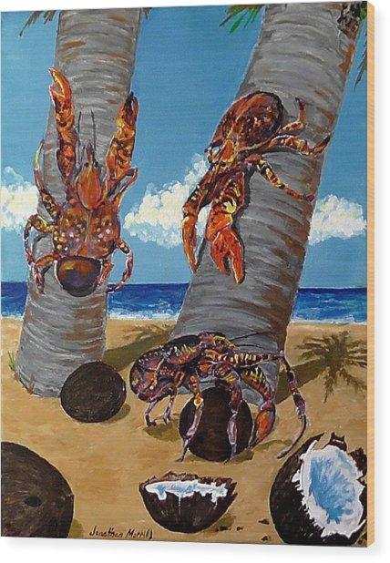 Coconut Crab Cluster Wood Print