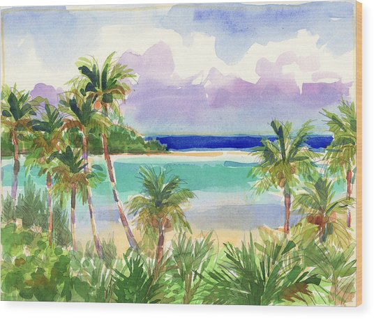 Coconut Palms And Lagoon, Aitutaki Wood Print