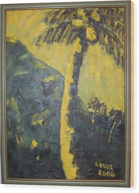 Coconut Tree Wood Print by Louis  Stephenson