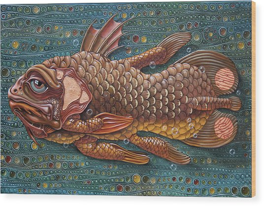 Coelacanth Wood Print