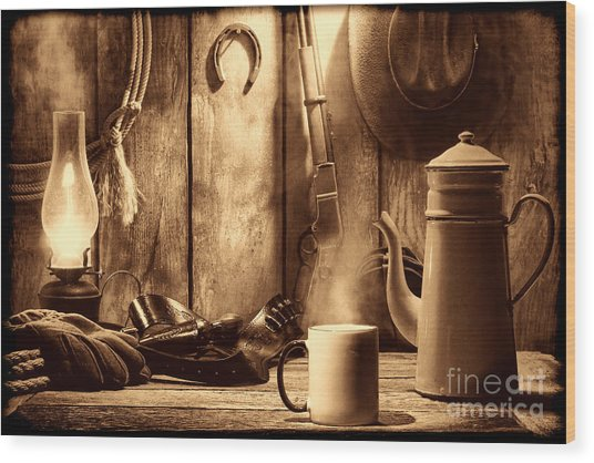 Coffee At The Cabin Wood Print