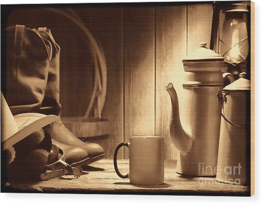 Coffee At The Ranch Wood Print