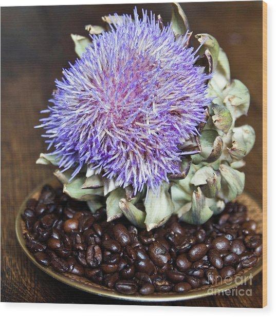 Coffee Beans And Blue Artichoke Wood Print