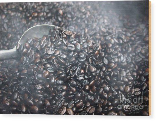 Coffee Beans Roasting Wood Print