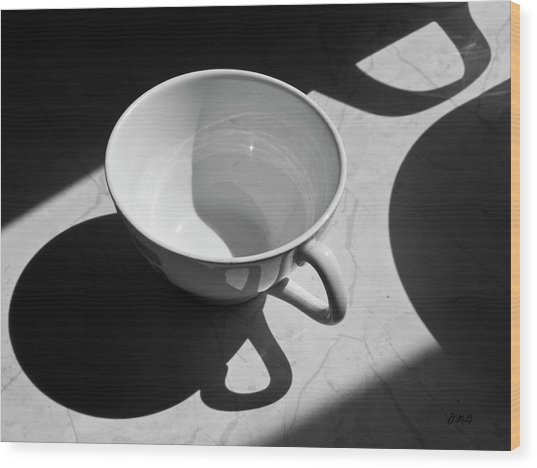 Coffee Cup In Light And Shadow Wood Print