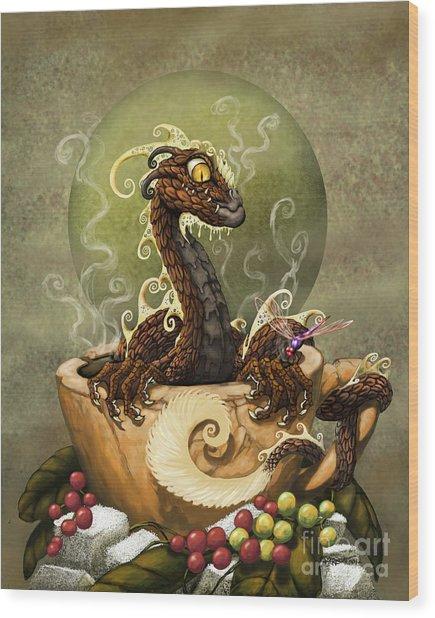 Coffee Dragon Wood Print