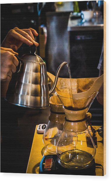 Coffee First Wood Print