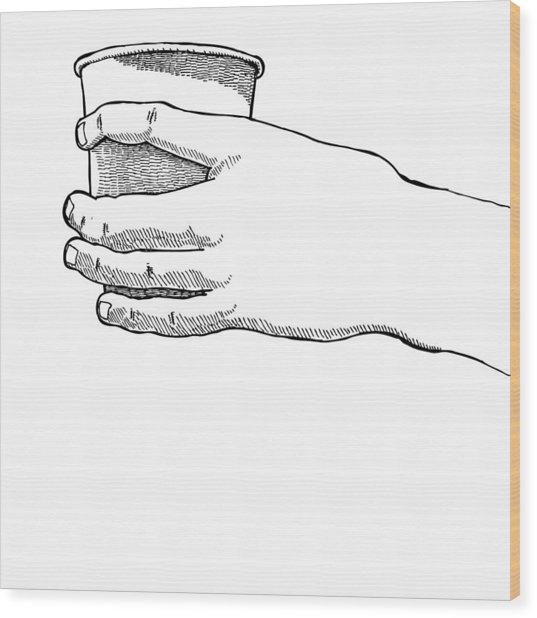 Coffee Hand Wood Print by Karl Addison