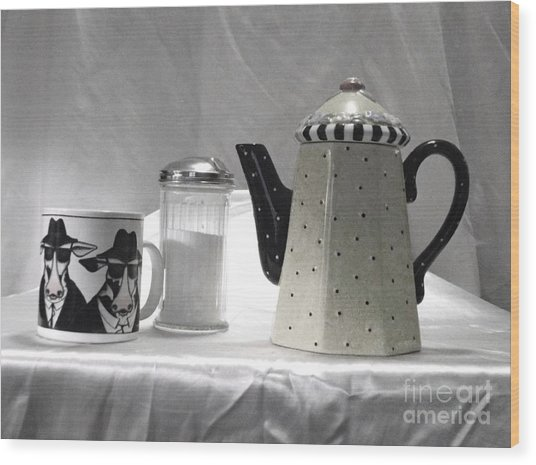 Coffee In Black And White Wood Print