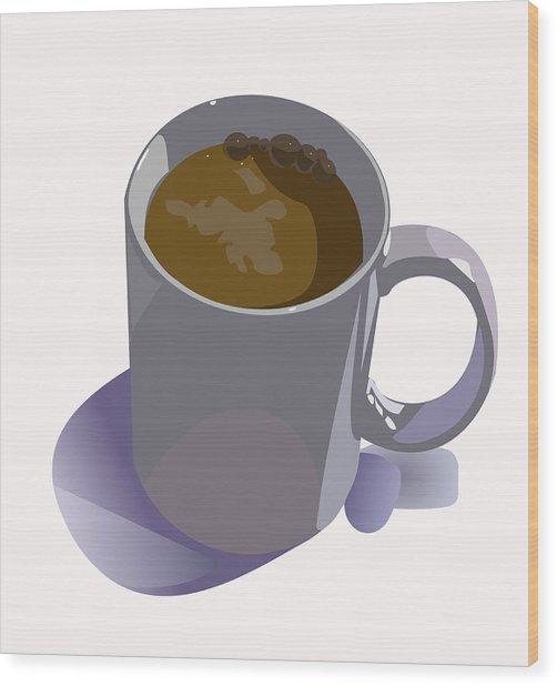 Coffee Mug Wood Print by Robert Bissett