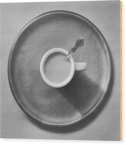 Coffee On A Wooden Tray Wood Print