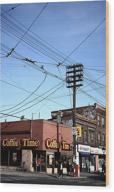 Coffee On The Corner Wood Print by Kreddible Trout