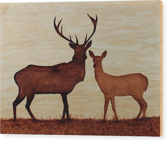 Coffee Painting Deer Love Wood Print