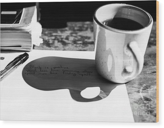 Coffee Poetry Wood Print