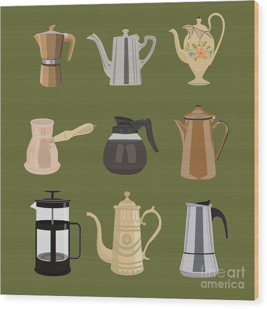 Coffee Pots Wood Print