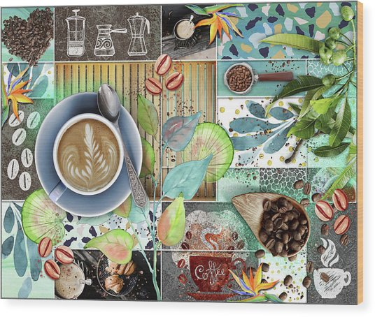 Coffee Shop Collage Wood Print